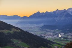 View to the Inn valley and Karwendel mountains. From the town Weerberg royalty free stock images