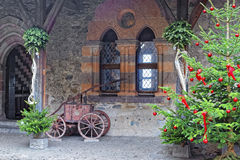 View to Inner bailey of Chillon Castle with Christmas tree Royalty Free Stock Image