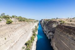 View to Isthmus of Corinth from above, Corinth, Greece, Europe stock photo