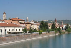 View to italian city Verona from river Adige royalty free stock images