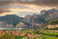 View to italian tourist resort riva del garda Royalty Free Stock Images