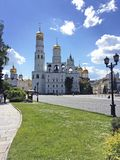 Moscow Kremlin behind the wall stock images