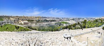 View to Jerusalem old city temple mount and the ancient Jewish cemetery in Olive mountain Royalty Free Stock Image