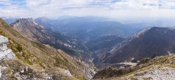 View to Julian Alps in Slowenia from Monte Chiampon Royalty Free Stock Images