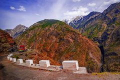 View to karakoram highway and valley, Pakistan. View to karakoram highway and valley, Karakoram, Pakistan Royalty Free Stock Photography