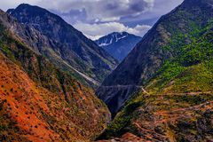 View to karakoram highway and valley, Pakistan. View to karakoram highway and valley, Karakoram, Pakistan Stock Photography