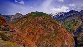 View to karakoram highway and valley, Pakistan. View to karakoram highway and valley, Karakoram, Pakistan Stock Images