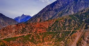 View to karakoram highway and valley, Pakistan Stock Photo