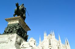 View to king Vittorio Emanuele monument and Milan Duomo Stock Photography