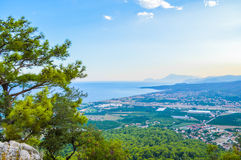 View to Kiris and Camyuva from the hill in Kemer Stock Images