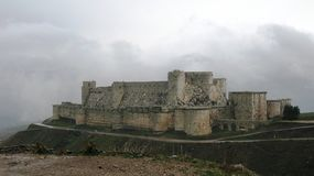View to Krak des Chevaliers Castle. Syria Royalty Free Stock Images