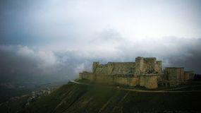 View to Krak des Chevaliers Castle, Syria. View to Krak des Chevaliers Castle in Syria Royalty Free Stock Images