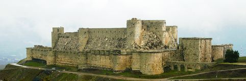 View to Krak des Chevaliers Castle, Syria royalty free stock photography