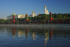 View to Kremlin, cathedrals and bell tower and Moscow river Stock Photography