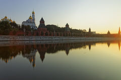 View to Kremlin and Moscow river quay at the sunrise Stock Photography