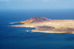 View to La Graciosa Island from Mirador del Rio. Royalty Free Stock Images