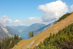 View to lake achensee and mountains Stock Images