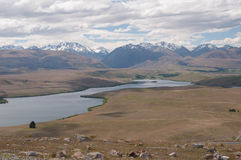 View to lake Alexandrina from Mt John Observatory Stock Photos