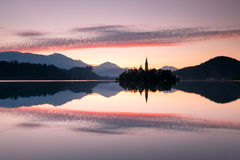 View to lake Bled, Slovenia. View to Bled Lake, Island,Church And Castle With Mountains In The Background-Bled,Slovenia,Europe Stock Images