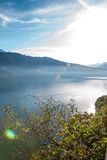 View to Lake Brienz in autumn weather, Bernese Highlands, Switzerland Stock Images