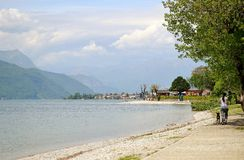 View to lake Como from Abbadia Lariana lakefront. Royalty Free Stock Photography