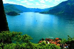 View to lake Como and Bellagio peninsula in a summer sunny day. Royalty Free Stock Photo