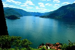 View to lake Como and Bellagio peninsula in summer. Royalty Free Stock Photos