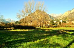 View to lake Como district in winter sunny day. Stock Photos