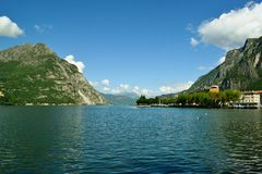 View to lake Como near Lecco in sunny summer day. Royalty Free Stock Photography