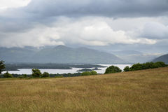 View to lake and hills at connemara in ireland Stock Photos