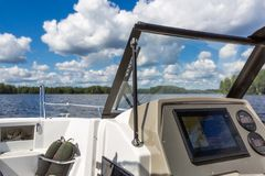 View to lake landscape from motor boat royalty free stock photography