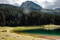 View to lake and mountains in the national park Durmitor in Montenegro stock images
