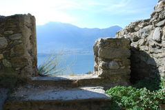 View to the lake from the old farmhouse. A to sight the lake from a ruin Royalty Free Stock Image
