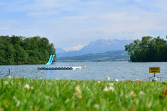 View to Lake Sempach and the Alps Stock Images