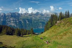 View to the lake Walensee. From the Flumserberg (Switzerland Stock Photography