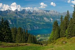 View to the lake Walensee. From the Flumserberg (Switzerland Stock Photo
