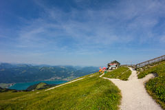 View To Lake Wolfgangsee & Gates Of Heaven From Schafbergspitze 1.783 In The Morning Royalty Free Stock Images