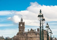 A view to landmark Balmoral hotel in Edinburgh Scotland. A view to landmark Balmoral hotel in Edinburgh, Scotland Stock Photos