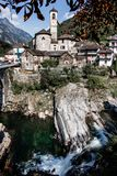 View to Lavertezzo village in Valle Verzasca, famous Swiss villa royalty free stock images