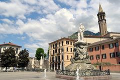 View to Lecco center and monument to Mario Cermenati Stock Photography