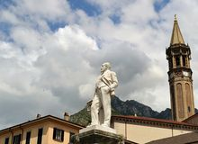 View to Lecco central church tower and monument to Mario Cermenati Royalty Free Stock Photography