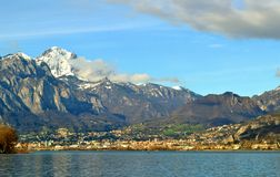View to Lecco city in a beautiful spring sunny day. Stock Photography
