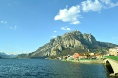 View to Lecco, lake Como and mountains in spring. Royalty Free Stock Photography