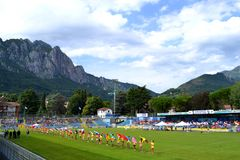 View to Lecco stadium and Frisbee Federation flags exhibiting. Stock Image