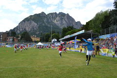 View to Lecco stadium and sportsmen of Frisbee International Federation. Stock Images