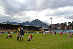 View to Lecco stadium and sportsmen of Frisbee International Federation. Stock Photography