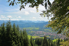 View to lenggries village and mountains Royalty Free Stock Photo