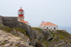 View to the lighthouse and buildizngs at St.Vincent cape in Sagres, Portugal. Stock Images