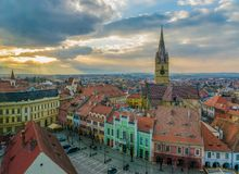 View to the Little Square and the Sibiu Lutheran Cathedral in the Transylvania region, Sibiu, Romania.  royalty free stock image