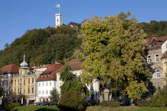 View to Ljubljana Castle  in Autumn. In the capital of Slovenia Royalty Free Stock Photography